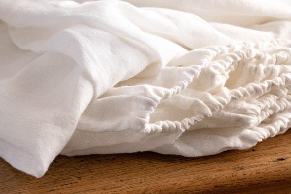 Parure en lin lavé ivoire drap housse