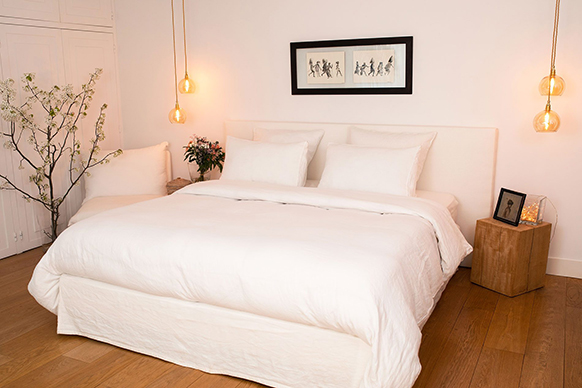 Linge de lit en lin ivoire