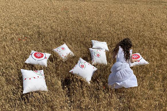 coussins dans les blés
