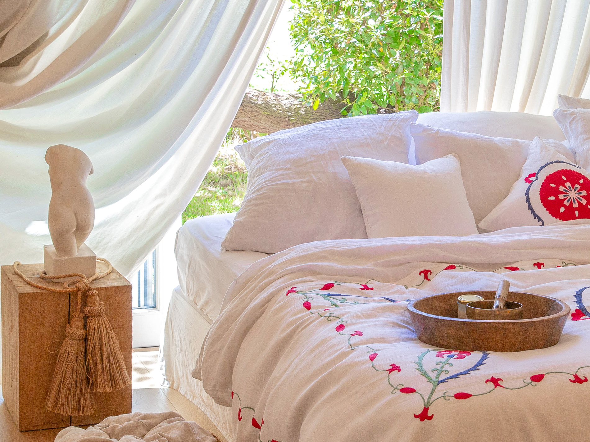couvre lit Anor vue jardin