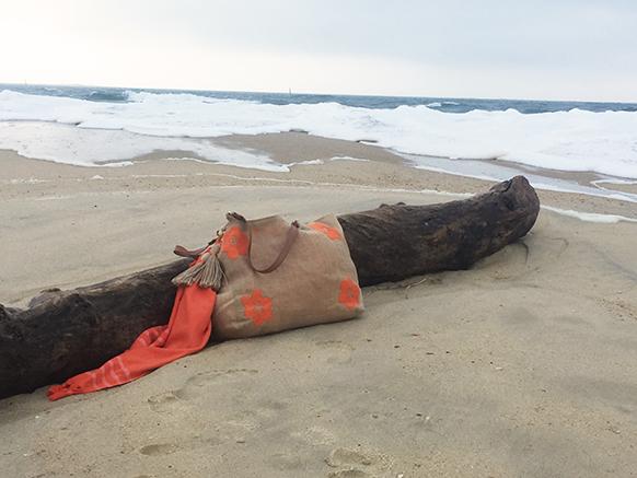 sac cabas brodé orange