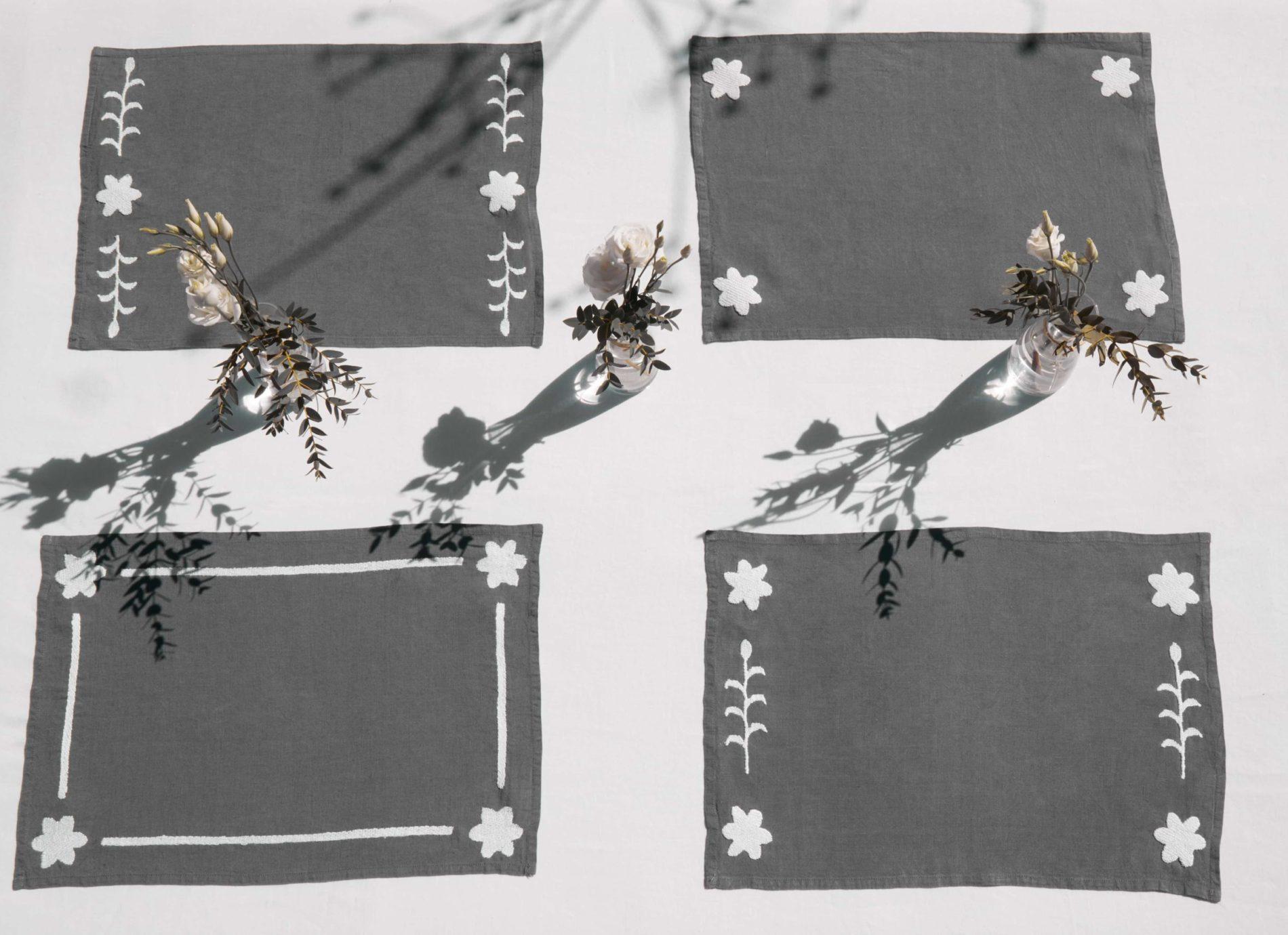 set de table en lin gris anthracite brodés