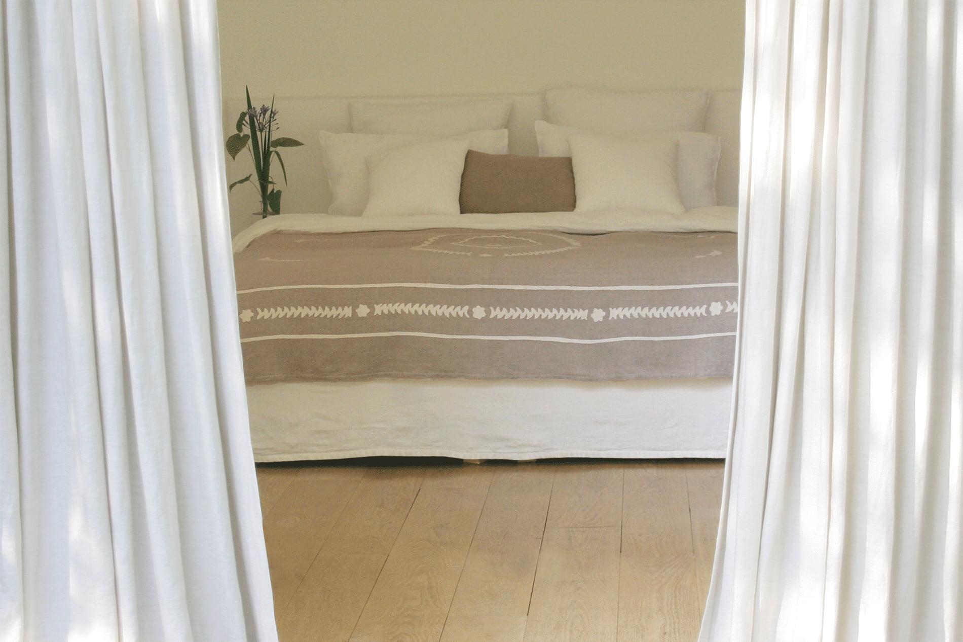boutis couvre lit en lin