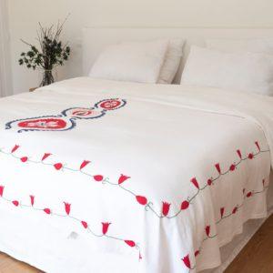 jeté de lit en lin éthique